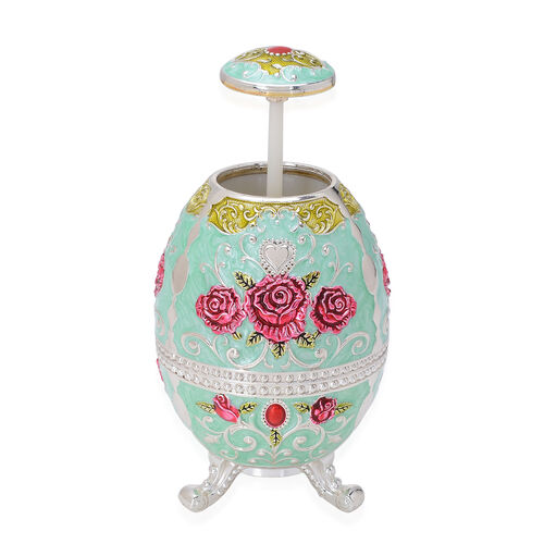 Home Decor - Turquoise Colour Enameled Floral and Filigree Pattern Egg Shape Multi Purpose Dispenser with Bottle Opener at Bottom