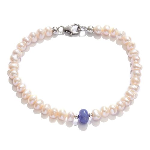 Tanzanite and Fresh Water Pearl Bracelet (Size 7.5) in Platinum Overlay Sterling Silver 25.000 Ct.