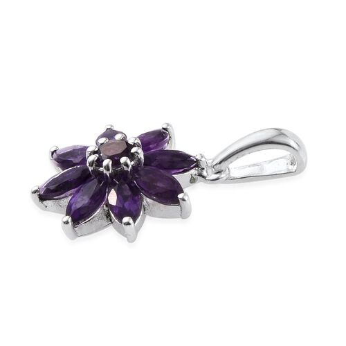 Amethyst (Rnd) Floral Pendant in Sterling Silver 2.000 Ct.