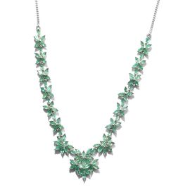 Kagem Zambian Emerald (Mrq) Necklace (Size 18) in Platinum Overlay Sterling Silver 12.000 Ct.