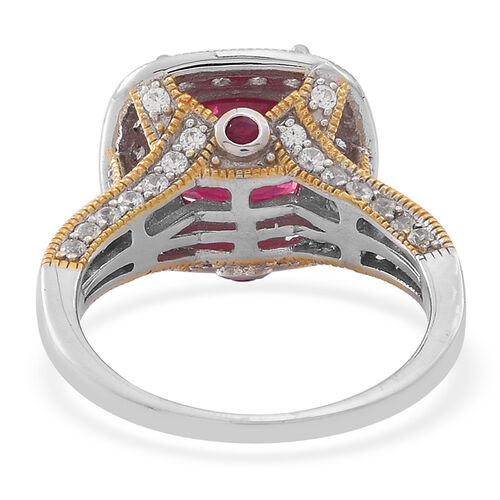 African Ruby (Cush 6.25 Ct), Burmese Ruby and Natural Cambodian Zircon Ring in Rhodium Plated Sterling Silver 8.070 Ct.