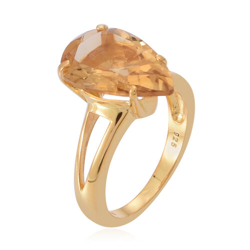 Rare AAA Uruguay Citrine (Pear) Solitaire Ring in 14K Gold Overlay Sterling Silver 5.000 Ct.