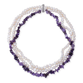Amethyst and Fresh Water White Pearl Necklace (Size 18) in Silver Tone