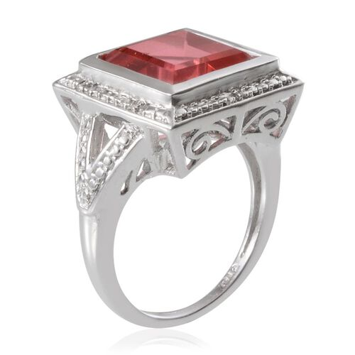 Padparadscha Colour Quartz (Sqr 7.00 Ct), Diamond Ring in Platinum Overlay Sterling Silver 7.030 Ct.