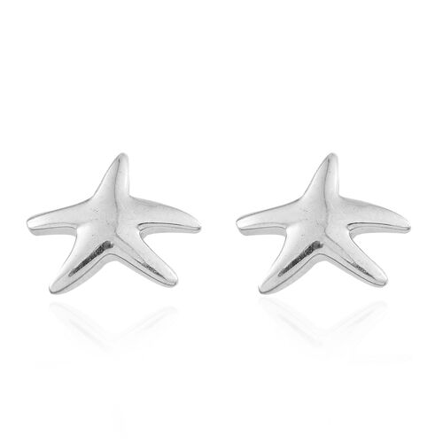 Platinum Overlay Sterling Silver Star Fish Stud Earrings (with Push Back), Silver wt 3.00 Gms.