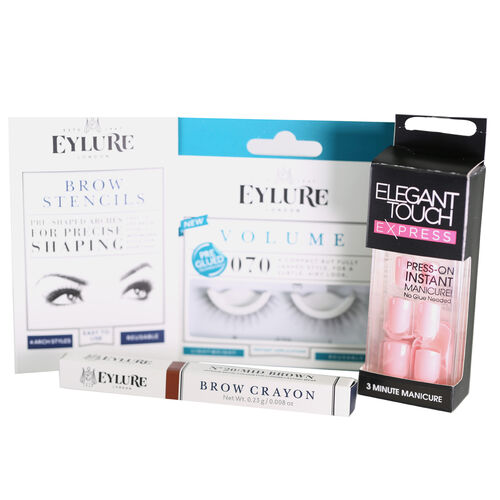 Starter Express Kit , Volume Lashes 70, Brow Stencils, Express Manicure , Brow Crayon Mid Brown
