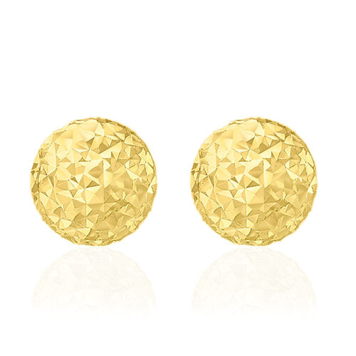 Close Out Deal 9K Y Gold Diamond Cut Ball Stud Earrings (with Push Back)