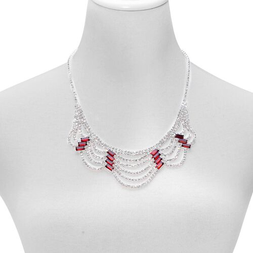 (Option 3) Simulated Ruby and White Austrian Crystal Necklace (Size 20 with 2 inch Extender) in Silver Tone