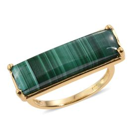 Malachite (Bgt) Ring in 14K Gold Overlay Sterling Silver 12.000 Ct.