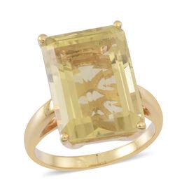Lemon Quartz (Oct) Ring in 14K Gold Overlay Sterling Silver 14.000 Ct.