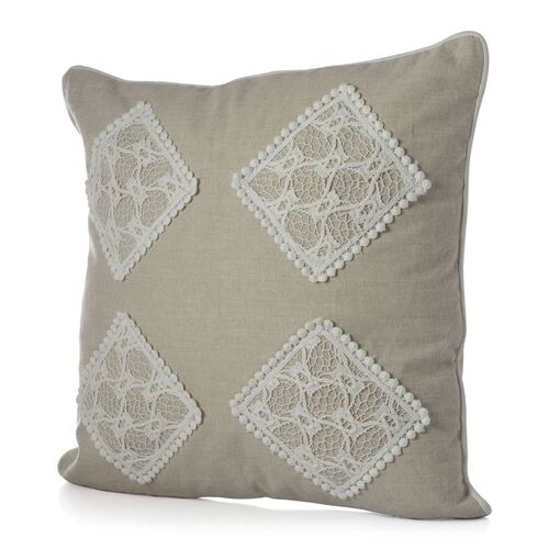 (Option 4) Beige Colour Net Patch Work Cushion (Size 43x43 Cm)