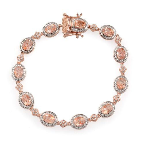 Tanzanian Sun Stone (Ovl), White Topaz Bracelet in Rose Gold Overlay Sterling Silver (Size 7.5) 9.000 Ct.