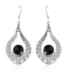 Enhanced Emerald (Rnd) Hook Earrings in Sterling Silver 5.430 Ct.