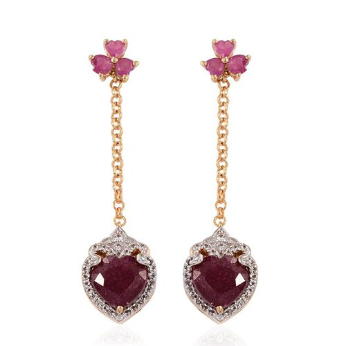 GP African Ruby (Hrt), Burmese Ruby, Kanchanaburi Blue Sapphire and White Topaz Earrings (with Push Back) in 14K Gold Overlay Sterling Silver 5.750 Ct.