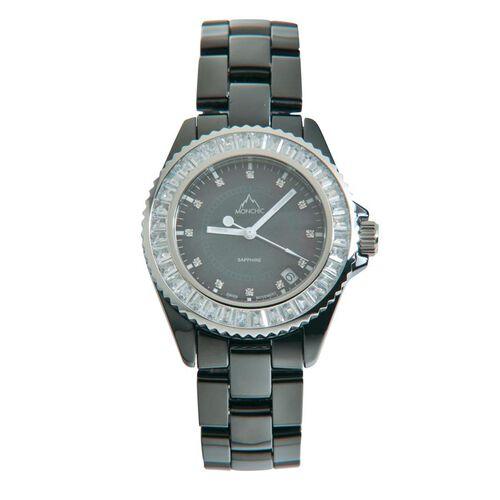 One Time Deal - MONCHIC Sapphire Glass, Swarovski Crystal and Diamond Black Ceramic Swiss Movement Watch