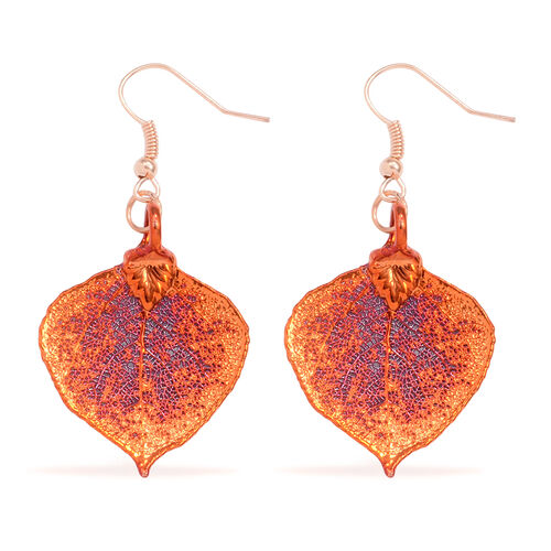 Tucson Collection Aspen Leaf Hook Earrings Dipped in Iridescent Copper (Size 23x32 mm)