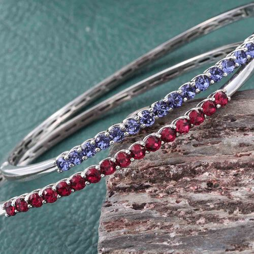 Set of 2 - J Francis Crystal from Swarovski - Ruby and Tanzanite Colour Crystal Bangle (Size 7.5) in ION Plated Platinum Bond