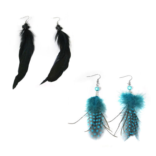 Feather Collection - Set of 2 Blue and Black Hook Earrings in Stainless Steel