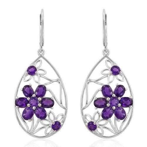 Amethyst (Rnd) Floral Lever Back Earrings in Platinum Overlay Sterling Silver 5.250 Ct.