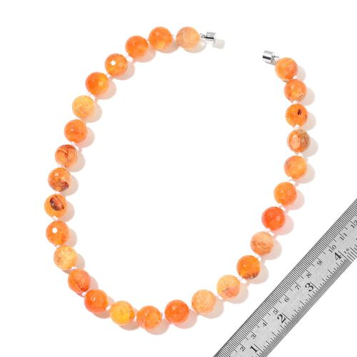 Rare Size Orange Agate Ball Beads Necklace (Size 18) with Magnetic Clasp Lock in Silver Tone and Stretchable Bracelet (Size 6.5 to 8.5) 801.000 Ct.