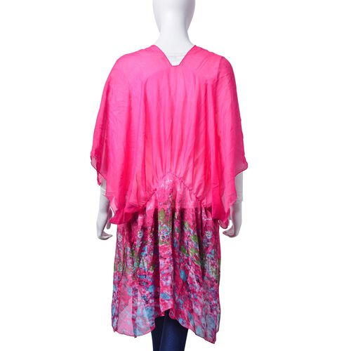 Multi Colour Printed Fuchsia Colour Poncho (Free Size)