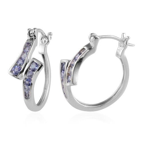 Tanzanite (Rnd) Hoop Earrings (with Clasp) in Platinum Overlay Sterling Silver 1.000 Ct.