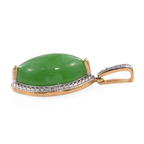Green Jade (Mrq), Diamond Pendant in 14K Gold Overlay Sterling Silver 10.750 Ct.