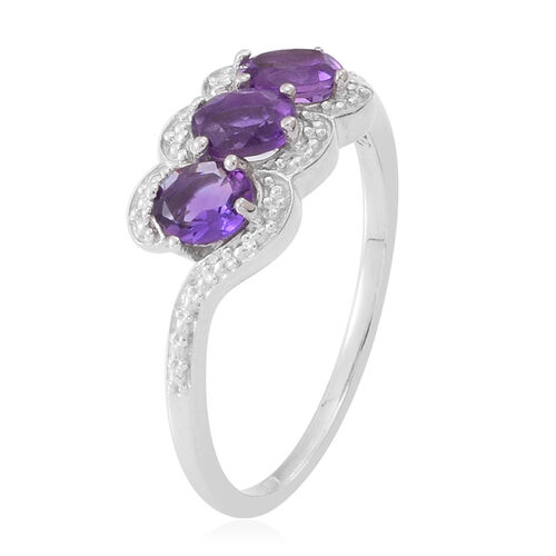 Natural Uruguay Amethyst (Ovl) Trilogy Ring in Rhodium Plated Sterling Silver 1.250 Ct.