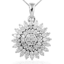 9K W Gold SGL Certified Diamond (Rnd) (I3/ G-H) Cluster Pendant With Chain 1.000 Ct.