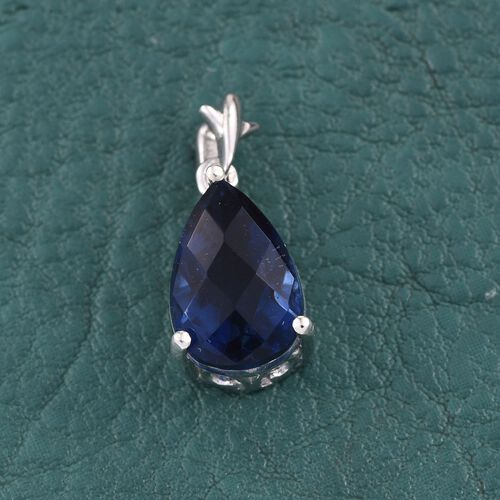 Checkerboard Cut Ceylon Colour Quartz (Pear) Solitaire Pendant in Platinum Overlay Sterling Silver 3.500 Ct.