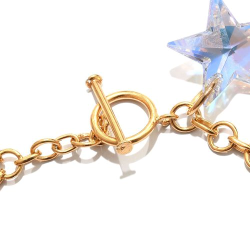 J Francis Crystal From Swarovski - Rainbow Colour Crystal Charm Bracelet (Size 7.5) in 14K Gold Overlay Sterling Silver