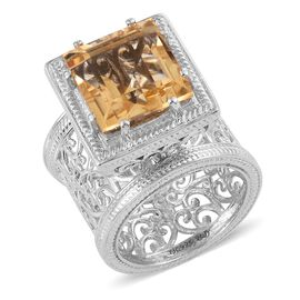 Royal Jaipur Citrine (Sqr 7.95 Ct), Burmese Ruby Ring in Platinum Overlay Sterling Silver 8.000 Ct.