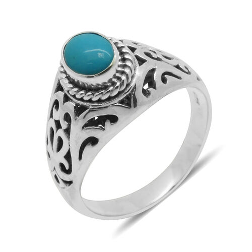 Royal Bali Collection Arizona Sleeping Beauty Turquoise (Ovl) Solitaire Ring in Sterling Silver 0.830 Ct.