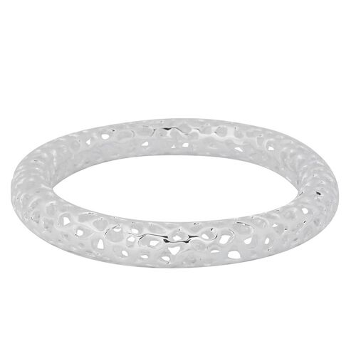 RACHEL GALLEY Rhodium Plated Sterling Silver Allegro Bangle (Size 7.5 / Small) Wt 28.69 GMS.