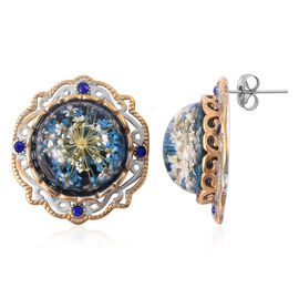 Natural Flower Preserved with Blue Austrian Crystal Stud Earrings (with Push Back) in Stainless Steel