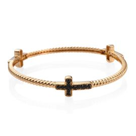 Boi Ploi Black Spinel Cross Silver Bangle (Size 7.5) in 14K Gold Overlay 1.250 Ct.