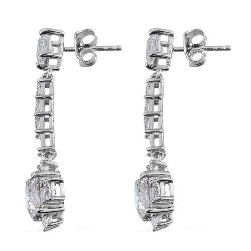 J Francis - Platinum Overlay Sterling Silver (Sqr) Earrings (with Push Back) Made with SWAROVSKI ZIRCONIA
