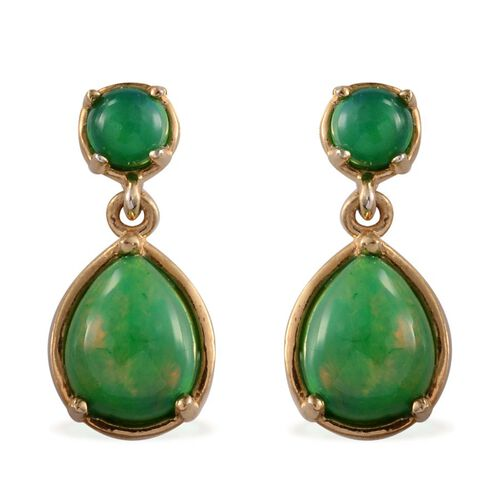 Green Ethiopian Opal (Pear) Drop Earrings (with Push Back) in 14K Gold Overlay Sterling Silver 2.900 Ct.