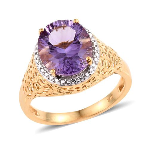 Brazilian Amethyst (Ovl) Solitaire Ring in 14K Gold Overlay Sterling Silver 4.250 Ct.