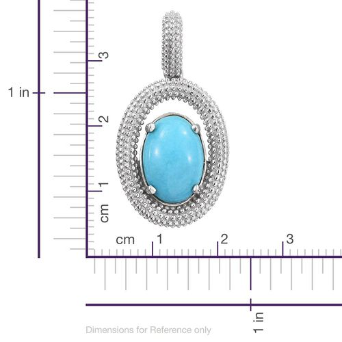Arizona Sleeping Beauty Turquoise (Ovl) Solitaire Pendant in Platinum Overlay Sterling Silver 4.250 Ct.