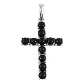 Black Onyx (Rnd) Cross Pendant in Platinum Overlay Sterling Silver 3.250 Ct.