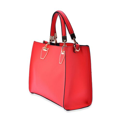 Set of 2 -Bianca Red Colour Large and Small with Adjustable and Removable Shoulder Strap Handbag (Size 31x24x10 Cm, 25x17x9.5 Cm)