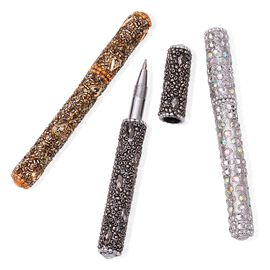 Hand Crafted Grey, Bronze and White Set of 3 Crystal Embellished Pens