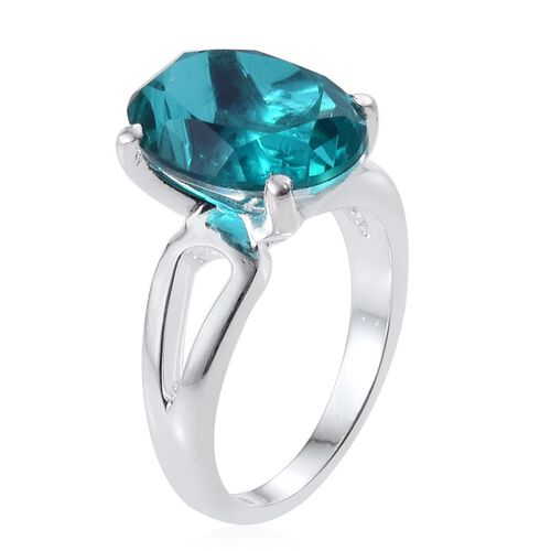 Capri Blue Quartz (Ovl) Solitaire Ring in Sterling Silver 6.250 Ct.