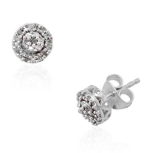 Diamond (Rnd) Stud Earrings in Platinum Overlay Sterling Silver 0.255 Ct.