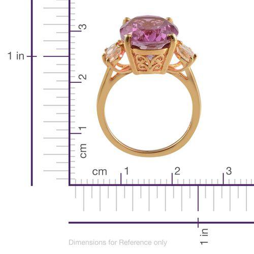Kunzite Colour Quartz (Ovl 10.25 Ct), White Topaz Ring in 14K Gold Overlay Sterling Silver 10.750 Ct.