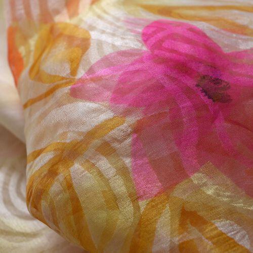 100% Silk Cream and Multi Colour Self Printed Scarf (180x50 Cm)