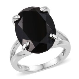 Boi Ploi Black Spinel (Ovl) Ring in Platinum Overlay Sterling Silver 15.000 Ct.