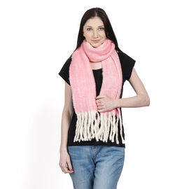 Limited Deal - Mohair Wool Blend (Mohair 25%) Neck Wrap - Pink with Tassels (Size 160x30 Cm)