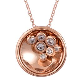 AAA Simulated White Diamond Pendant With Chain in Rose Gold Overlay Sterling Silver. wt 5.0 grams